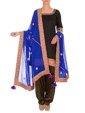 Blue Embellished Georgette Dupatta - By