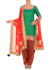Red Embellished Georgette Dupatta - By
