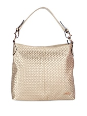 Gold Quilted Leatherette Hobo Bag - By