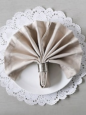 Beige Cotton Square Table Napkins (Set Of 6) - By