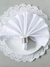 White Cotton Square Table Napkins (Set Of 6) - By