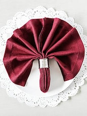 Burgundy Viscose Cotton Square Table Napkins (Set Of 6) - By