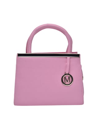 solid pink leatherette structured handbag -  online shopping for handbags