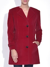 Red Velvet Full Sleeves Coat - By