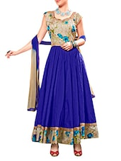 Blue Printed Banglori Silk Semi-Stitched Anarkali Suit Set - By