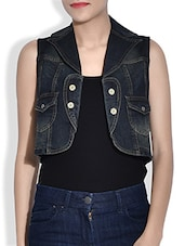 Dark Blue Denim Sleeveless Waist Coat - By