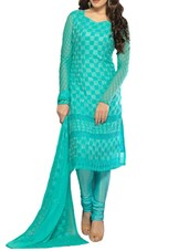 Stunning Blue Embroidered Dress Material - Khantil