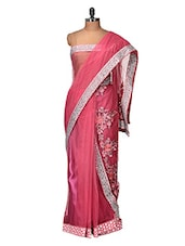 Stylish Pink Embroidered  Saree - Purple Oyster