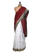 Glamorous White And Red Half And Half Saree - Purple Oyster