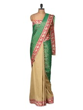 Fabulous Beige And Green Silk Saree - Purple Oyster