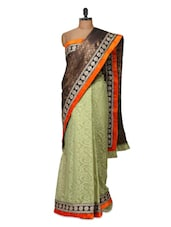 Graceful Green And Brown Silk Saree - Purple Oyster