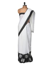 Graceful White Saree With Rosette Border - Purple Oyster