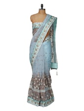 Fabulous Blue Saree With Lovely Embroidery - Purple Oyster