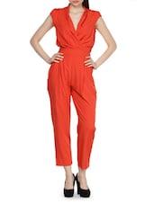 Orange Jumpsuit With Overlapping Bodice - Salt