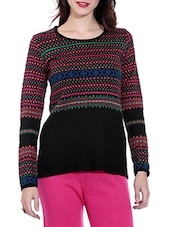 Black Woolen Pullover With Self Design - By