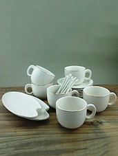 White Porcelain Tea Set Of 6 With 2 Snack Plates - By