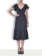 Charcoal Grey Gathered Cotton Dress - By