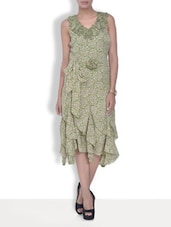 Olive Green Printed Ruffled Viscose Dress - By