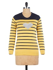 Yellow Striped Cotton Full-sleeved Pullover - By