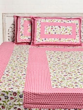Pink Floral Print Double Bed Sheet Set - Silkworm