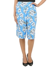 Blue Rayon Floral Printed Culotte Pant - By