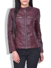 Maroon Faux Leather Full Sleeved Jacket - By