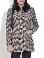 Beige And Black Woollen Coat - By