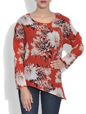 Red Floral Print Top - By