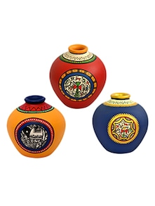 Assorted Colors Hand Painted Terracotta Vases (Set Of 3)