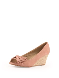 Pink Faux Leather Wedge Sandals - Solo Voga