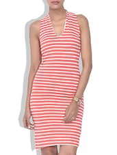 Red And White Striped Bodycon Dress - By