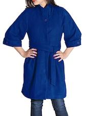 Blue Woolen Felt  Long Coat - By