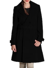 Black Woolen Felt  Long Coat - By - 9598485