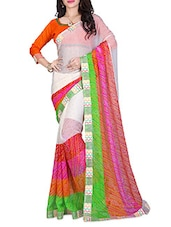 Multi Chiffon Printed Border Saree - By