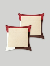 Set Of 2 Beige Colorblocked Art Silk Cushion Covers - By