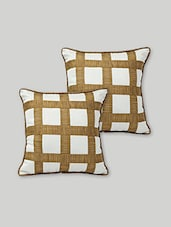 Set Of 2 White And Brown Art Silk Cushion Covers - By