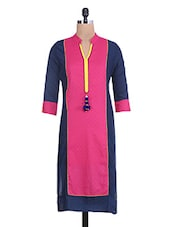 Navy Blue And Pink Printed Cotton Kurta - By
