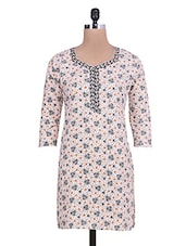 Cream Heart And Leaf Printed Rayon Kurta - By