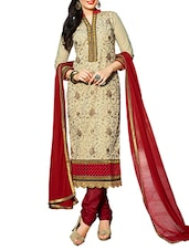 Embroidered Beige And Maroon Cotton Cambric Unstitched Suit Set - By