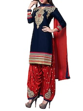 Embroidered Navy Blue and Red Pure Cotton Unstitched Suit Set -  online shopping for Unstitched Suits