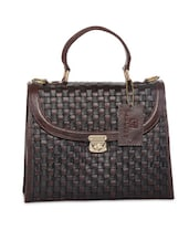 Black And Brown Textured Leather Handbag - By