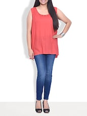 Solid Peach Sleeveless Cotton Top - By