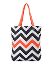 Monochrome Chevron Handbag With A Hint Of Orange - Be... For Bag