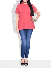 Solid Red Cotton T-shirt - By