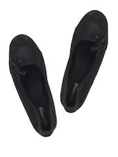 BLACK SUEDE SIDE LACE BALLERINA FLATS - Soft & Sleek