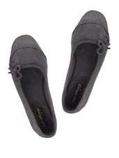 GRAY SUEDE SIDE LACE BALLERIAN FLATS - Soft & Sleek