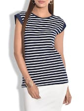 Navy Blue And White Striped Cotton Top - By