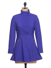 Solid Royal Blue Full-sleeved Coat - By