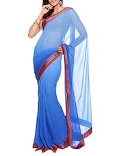 Blue Ombre Faux Chiffon Saree With Blouse Piece - By