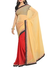 Yellow With Red Chiffon Saree With Blouse Piece - By